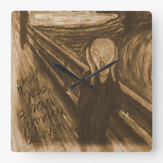 Gogh Mental Remake: The Scream by Edvard Munch Square Wall Clock