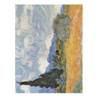 Gogh, mit Zypresse de Vincent Willem van Getreidef Postales