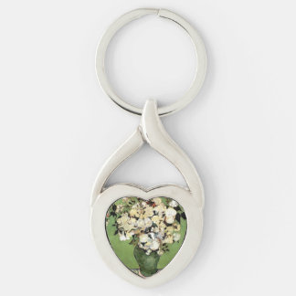 Gogh Roses 1890 Vase Blossoms Personalize Art Silver-Colored Heart-Shaped Metal Keychain