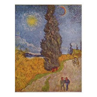 ¿Gogh, Vincent van Landstra? mit Zypressen de e Te Tarjetas Postales