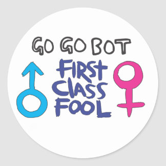 GoGoBot - tonto de la primera clase Pegatina Redonda