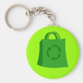 GoGreenShoppingBag_Vector_Clipart Llavero Redondo Tipo Pin