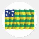 Goiás, Brazil Waving Flag Round Stickers