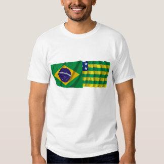Goiás y banderas que agitan del Brasil Playera
