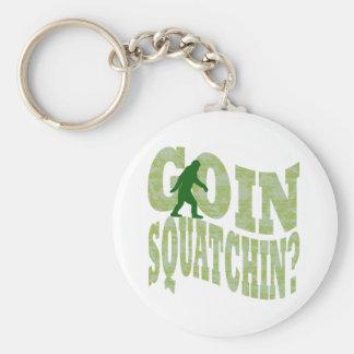 Goin squatchin? text & green camo keychain