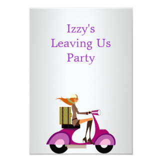 Going Away Party Event Girl on Motorbike Card