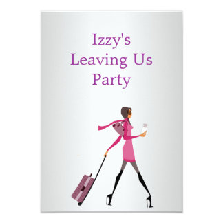 Going Away Party Event Girl with Luggage 3.5x5 Paper Invitation Card