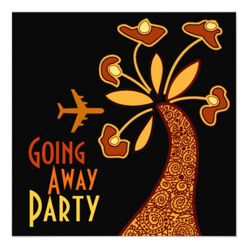 Going Away Party Invitation Card Motif Flower