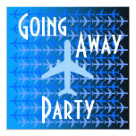 """Going Away Party Invitation Card Plane Blue 5.25"""" Square Invitation Card"""