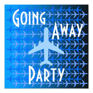 Going Away Party Invitation Card Plane Blue