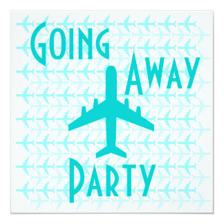 """Going Away Party Invitation Card Plane Teal 5.25"""" Square Invitation Card"""