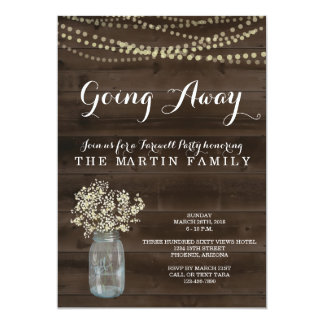 Going Away Party Invitation | Rustic Babys Breath