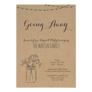 Going Away Party Invitation Rustic Kraft Paper