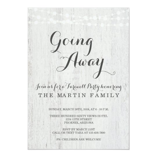 Going Away Party Invitation Rustic