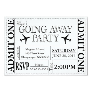 Going Away Party Ticket Invitation