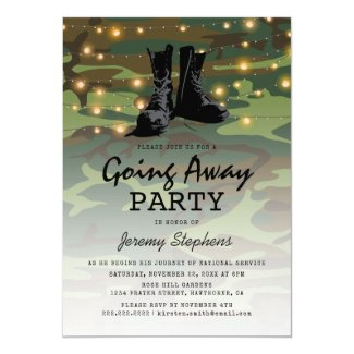 Going Away Soldier Boots Camouflage Invitation