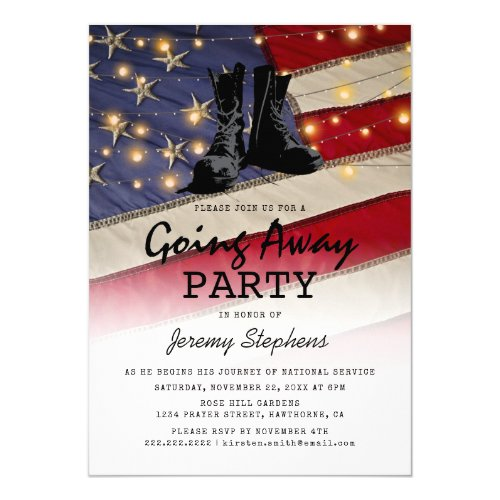 Going Away Soldier Patriotic Flag Invitation