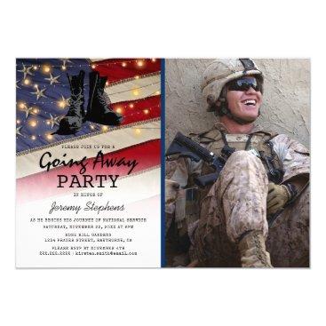 Going Away Soldier Patriotic Flag Photo Invitation