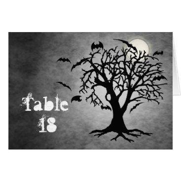Halloween Themed Going Batty Silver Halloween Table Card