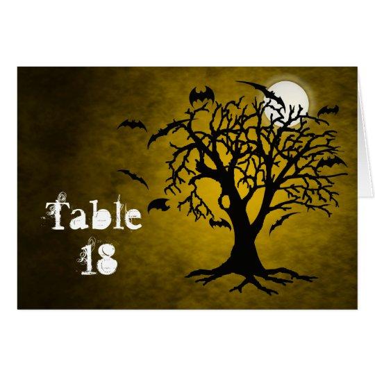 Going Batty Yellow Halloween Table Card