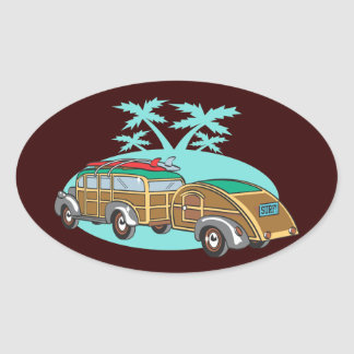 Going CAmping in my Woody Oval Sticker