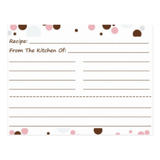 Going Dotty Blank Recipe Cards Post Card