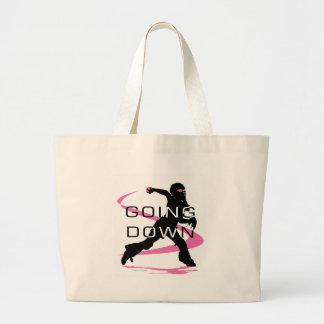 Going Down Pink Catcher Softball Canvas Bags