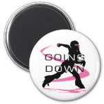 Going Down Pink Catcher Softball 2 Inch Round Magnet