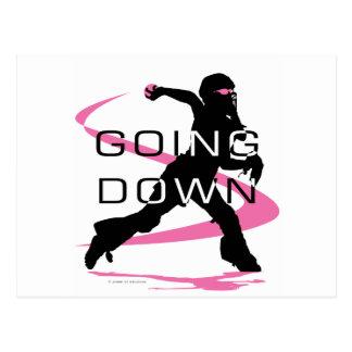 Going Down Pink Catcher Softball Postcard