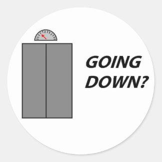 Going Down round button Classic Round Sticker
