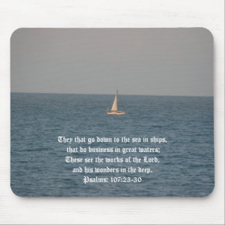 Going down to the Sea in Ships-Bible Quote Mouse Pads