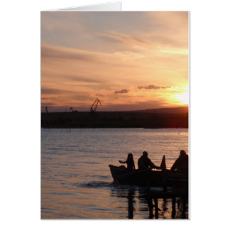 Going Fishing At Sunset Card