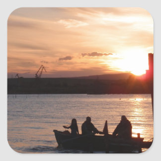 Going Fishing At Sunset Square Sticker