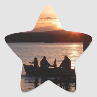 Going Fishing At Sunset Star Sticker