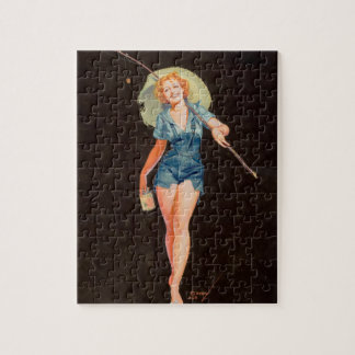 Going Fishing Pin Up Art Jigsaw Puzzle