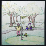 "Going for a Birdie Napkin<br><div class=""desc"">Commissioned drawing for a family friend&#39;s 70th birthday.  He is a golfer and a huge Norwich City (The Canaries) fan.</div>"