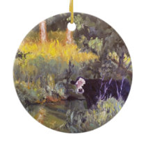 Going for a Swim Impressionist Oil Painting Ceramic Ornament