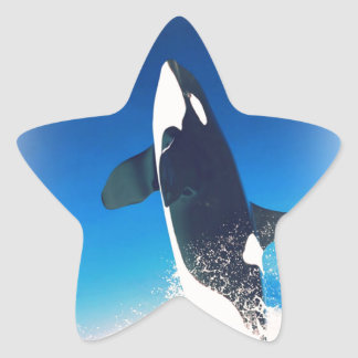 Going for the Breach Killer Whale Star Sticker
