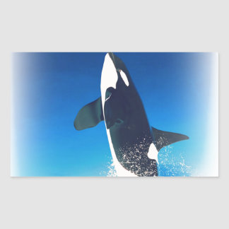 Going for the Breach Killer Whale Rectangle Sticker
