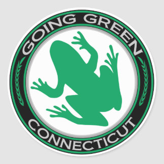 Going Green Connecticut Frog Classic Round Sticker