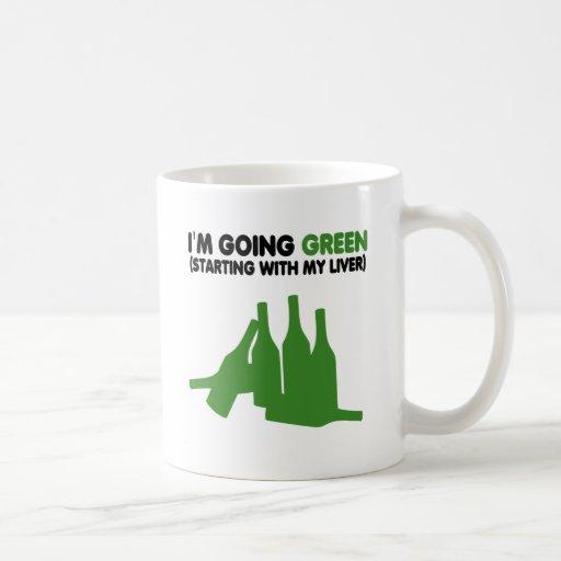 Going green,funny beer classic white coffee mug