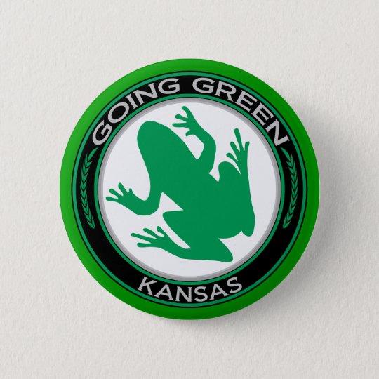 Going Green Kansas Frog Pinback Button
