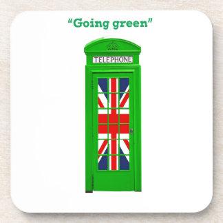 """Going green"" London phone box Beverage Coaster"
