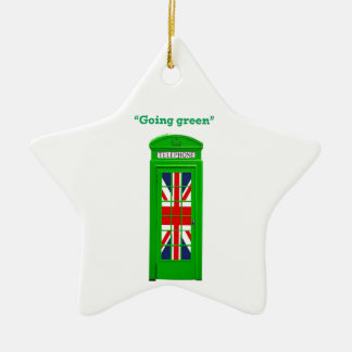 """Going green"" London phone box Ceramic Ornament"