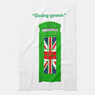 """Going green"" London phone box Kitchen Towel"