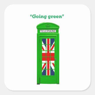 """Going green"" London phone box Square Sticker"
