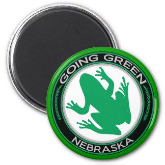 Going Green Nebraska Frog 2 Inch Round Magnet
