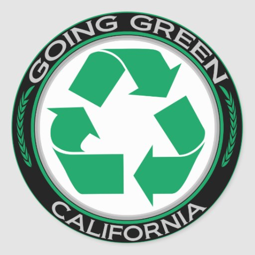 Going Green Recycle California Classic Round Sticker
