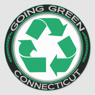 Going Green Recycle Connecticut Classic Round Sticker