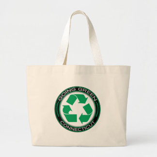 Going Green Recycle Connecticut Large Tote Bag